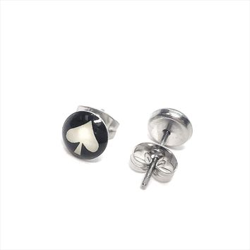 White Ace Symbol Stainless Steel Studs