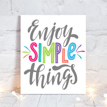 WALL ART QUOTE - Enjoy Simple Things - Office Quotes - Inspirational Quote - Motivational Quote - Typography Decor -Single Canvas or Print