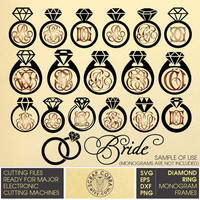 Diamond Ring Digital Monogram Frames. Wedding Vector Decal Clipart cut files (SVG, eps, DXF, PNG) Silhouette, Cricut die cutting cv-448