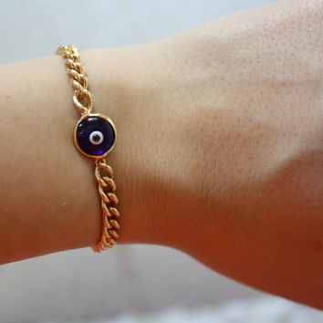 Blue Evil Eye Charm Bracelet - Gold Plated Beze