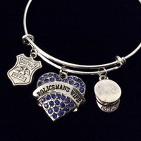 Policeman's Wife Adjustable Bracelet Police Officer Wife Expandable Wire Bangle Gift Police Hat Police Badge Blue Crystals