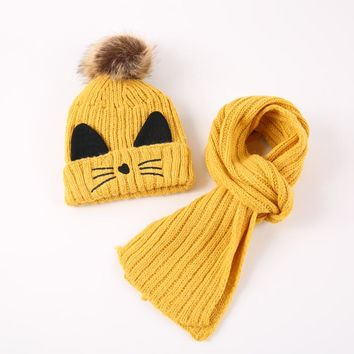2018 Lovely Cat Baby Winter Hat & Scarf Baby Winter Cap Children Warm Scarf For Boys Suit Beanie Hats Scarfs For Girl Boy