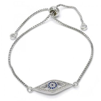 Rhodium Layered 03.205.0039.10 Fancy Bracelet, with Sapphire Blue and White Micro Pave, Polished Finish, Rhodium Tone