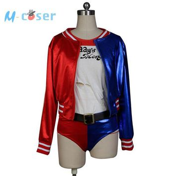 VONEY3N Batman Joker Suicide Squad Harley Quinn Uniform Daddy's Lil Monster Jacket Shorts T Shirt Halloween Cosplay Costumes For Women
