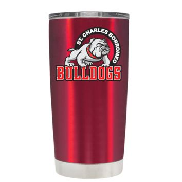 St Charles Borromeo Catholic School Standing Bulldog on Translucent Red 20oz Tumbler