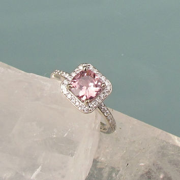 Pink Lavender Spinel Sapphire Alternative 14k White Gold Diamond Halo Engagement Ring