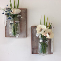 Reclaimed wood mason jar sconce set of 2,  wall mason jar vase, mason jar planters,  mason jar hangers, rustic country decor
