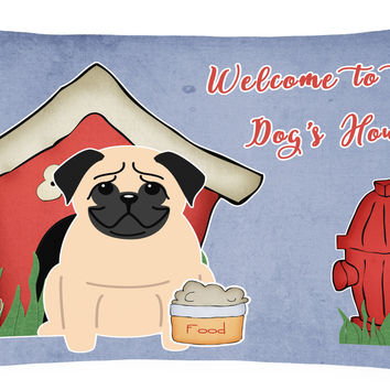 Dog House Collection Pug Fawn Canvas Fabric Decorative Pillow BB2762PW1216