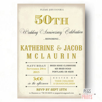 50th Anniversary Invitation - 50th Wedding Anniversary Invitations (Printable) Golden Anniversary Invites - Vintage 50 Year Anniversary