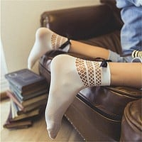 Fashion Women Ruffle Fishnet Ankle High Socks Bow Knot Mesh Lace Fishnet Socks Harajuku Summer Socks