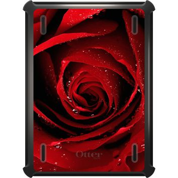 DistinctInk™ OtterBox Defender Series Case for Apple iPad - Dew Covered Red Rose