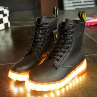 Light Up Adult Shoes Cowhide Square Heel Pure Color Bandage Ankle Individuality Biker Platform Boots Funky Low Heeled Black