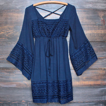 boho dress with bell sleeves - navy