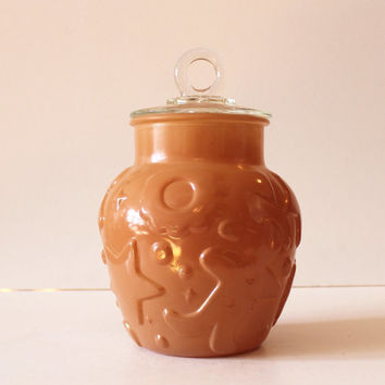 Vintage Hazel Atlas Gingerbread Man Embossed Cookie Jar