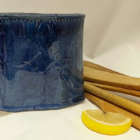 Blue Ceramic Container,  Blue Pottery Vase, Ceramic Vessel, Clay Container