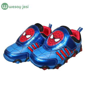 Children Shoes with light spiderman Fashion glowing Sneakers brand toddlers girls boys sneakers led shoes Kids sport shoes
