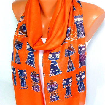 Scarf, Shawl, infinity Scarf, Cat Printed Scarf, Cat Pattern Scarves, Women Fashion Accessories, Lightweight Summer Scarf, Halloween Scarf