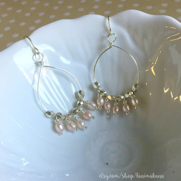 Pearl Beaded Hoop Earrings -  Wire Wrapped Chandelier Earrings - Beaded Chandelier Earrings - Simple Hoop Earrings