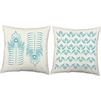Peacock Feather Throw Pillows