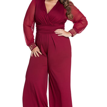 Red Plus Size Embellished Cuffs Long Mesh Sleeves Jumpsuit