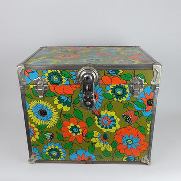 Hippie Trunk Flower Child 1960's Peace Love Funky Locker Entryway Bench Foot of Bed Blanket Box Feminist Home Decor Coffee Table End Table