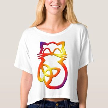 Rainbow Trinity Knot Celtic Cat T Shirt