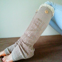Cozy Taupe Leg Warmers open toe with Ivory Lace Trim-Back order