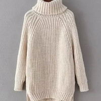 Cream High Low Chunky Knit Turtleneck Sweater