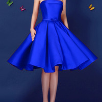 Blue Bowknot Waist Lacing Back Strapless Prom Skater Dress