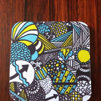 "Zentangle Coasters - Fun Drinking Coasters - Set of Artistic Coasters hand drawn by ZenJoanie - ""Illumination"""