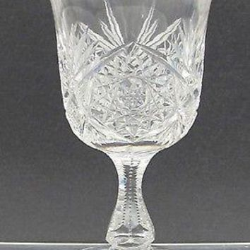 American Brilliant Period Cut Glass water goblet Antique abp hand blown flared