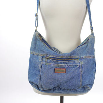 Vintage denim bag Boho bag 90s Grunge Denim bag Hippie bag Hippie purse Blue jean bag denim Festival bag denim purse Shoulder bag Gypsy bag