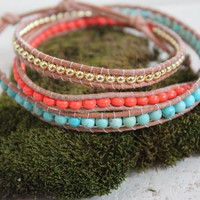 """Leather Beaded 22"""" Triple Wrap Turquoise + Coral"""