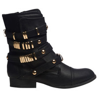 Gold Hardware Combat Boot | Wet Seal