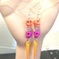 orange purple skull bead earrings long sugar skulls day of the dead jewelry