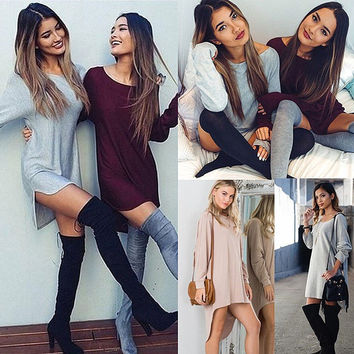 Fashion Women Casual Long Sleeve Blouse Tops Cotton Long T-Shirt Mini Dress Gift