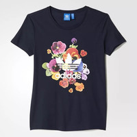 "Women Fashion ""Adidas"" Flowers Print T-Shirt Top Tee"