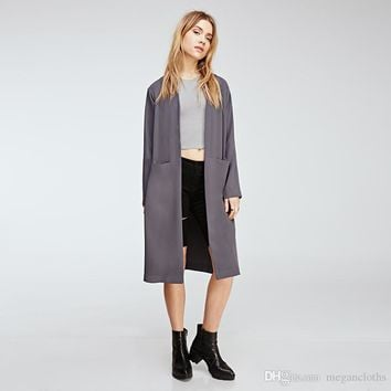 Autumn Women Solid Color Sexy Side Split Coats OL Brief Casual Long Sleeves Retro Vintage Midi Long Trench Coat