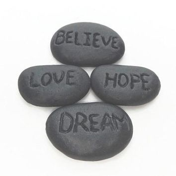 Charcoal Inspirational Soap Stones Set - Believe, Love, Dream, Hope - Sea Salt Lotus Fragrance