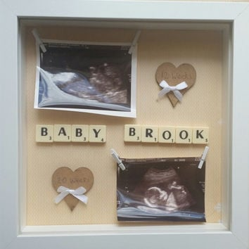 12 Week/20 Week baby scan frame, personalised surname. Baby shower gift personalised keepsake frame.Baby scan photo frame Baby shower gift