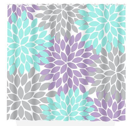 Aqua Gray SHOWER CURTAIN Lavender Flower From TRMDesignShop On