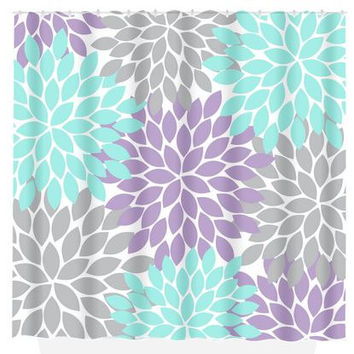 Aqua Gray SHOWER CURTAIN Lavender Flower Burst Custom MONOGRAM Personalized Bathroom D