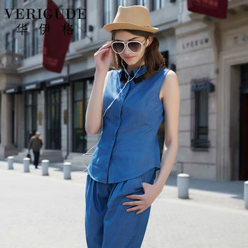 Veri Gude Women Denim Shirt Casual Style Sleeveless Lace Patchwork