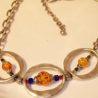 Necklace, Chunky Silver Tone Necklace with Yellow, Red, Blue Beads