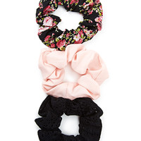 Floral Crochet Scrunchie Set