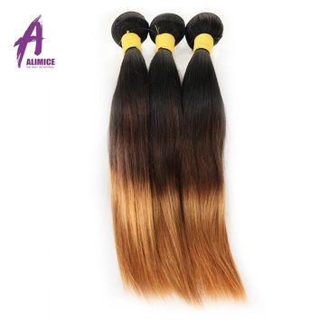 Alimice Hair Ombre Peruvian Hair Straight Hair Bundles T1B/4/30 Brown Honey Blonde Non Remy Human Hair Weave Extension 10-26inch