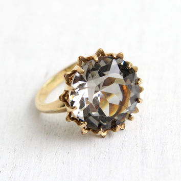 Vintage Smoky Gray Glass Stone Ring - 10k Yellow Gold Filled Signed C&C Clark and Coombs Size 6 Huge Stone Statement Jewelry