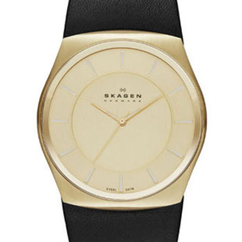 Skagen Klassik Mens Three Hand Watch - Gold-Tone - Black Leather Strap
