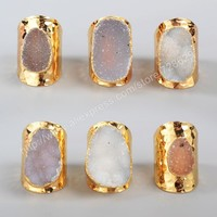 Fashion 5Pcs/lot Gold Plated Freeform Natural Agate Druzy Ring G0935
