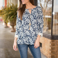 Just Can't Wait Blouse, Navy
